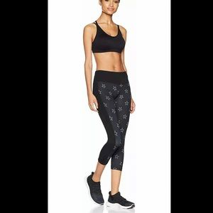 New STARTER Black Gray Star Print Capri Crop M